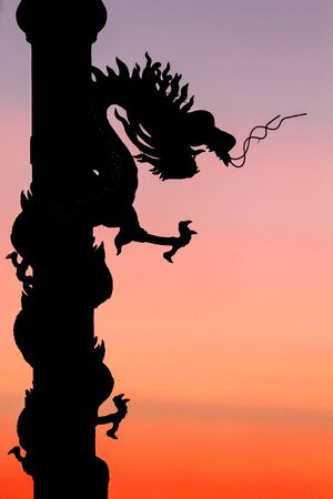 aisa: Chinese dragon silhouette in a warm sunset