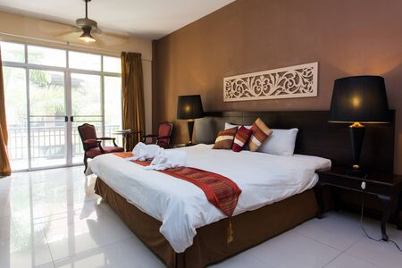 nice accommodations: Luxury modern hotel room in Thailand Editorial