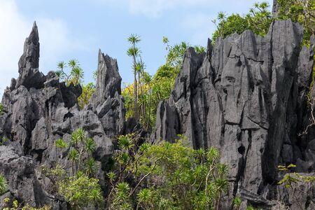 nido: Limestone tropical coastline landscape in Palawan island, Philippines Stock Photo