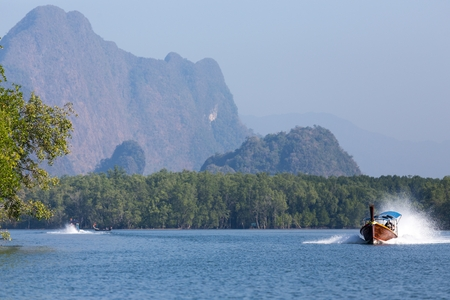Speedboat in the Pang Nga bay with mangrove tree area and mountain, Thailand photo
