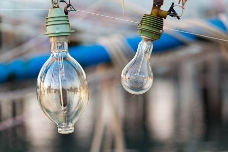 calmar: Squid fishing boat light bulb, this is used at night to attract the animals at the water surface Stock Photo
