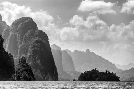 Rocky tropical landscape in the Chiew Lan Lake, Khao Sok national park, Thailand photo