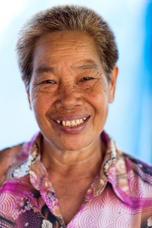 Portrait of a Thai woman silkworm livestock farmer, Khon Kaen, Thailand photo