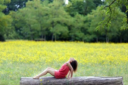 Beautiful young woman relaxing on a log or tree trunk in a rural field of dandelions. photo