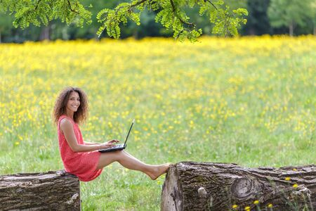 Young woman using laptop in nature sitting on a log in a dandelion summer field photo