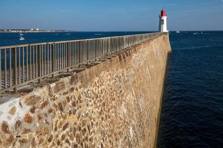 vendee: Pier and beacon in Sables dOlonnes, France