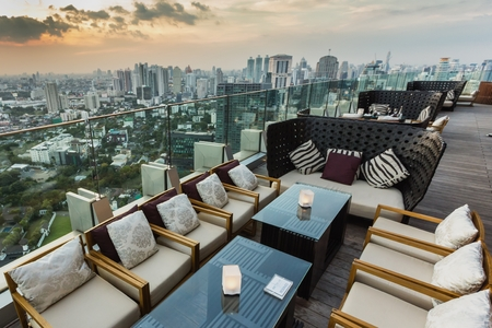 BANGKOK, THAILAND - NOV 29, 2013: View from the top of Octave Bar in Bangkok, Thailand. The Octave bar is located in the Thong Lor district near sukhumvit road. Redakční