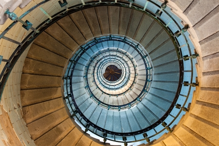 Spiral staircase detail of the Eckmuhl lighthouse in Brittany, france