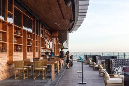roof top: BANGKOK, THAILAND - NOV 29, 2013: The terrace of Octave rooftop Bar in Bangkok, Thailand. The Octave bar is located in the Thong Lor district near sukhumvit road.