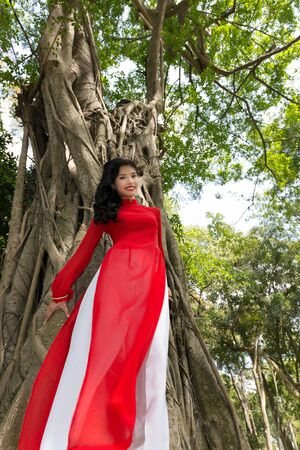 ficus: Smiling Young Woman in Red and White Dress Leaning at the Tall Tree While Looking at the Camera.
