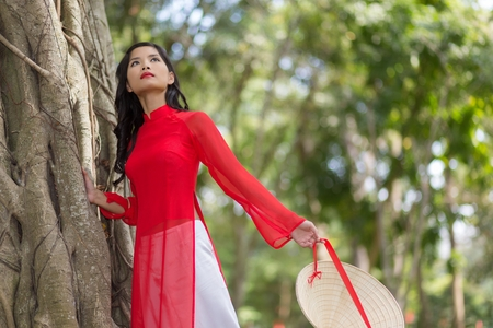 ao: Attractive young Asian woman in a colorful red traditional Vietnamese dress leaning gracefully against a tree, low angle view Stock Photo