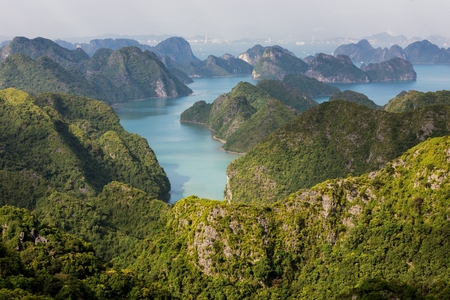 Halong bay archipelago top view from Cat Ba island, Vietnam photo