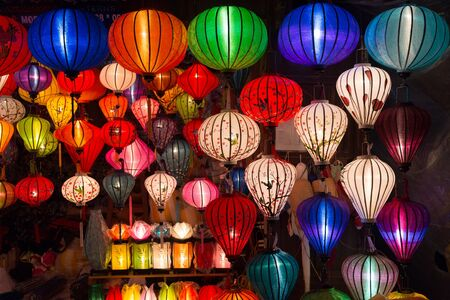 Handicraft colorful lamps illuminated at night, in Ha Noi, Vietnam