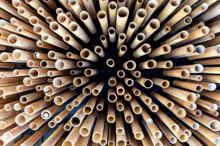 ceiling design: Abstract bamboo structure in a ceiling