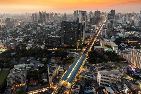 Twilight on Bangkok city, view from the Thog Lor district photo
