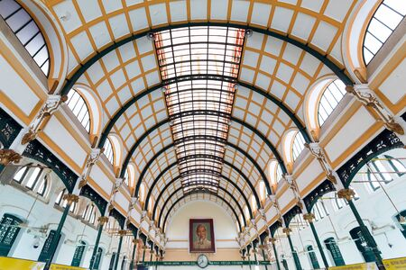 Saigon post office interior, created by the French architect Gustave Eiffel, Vietnam