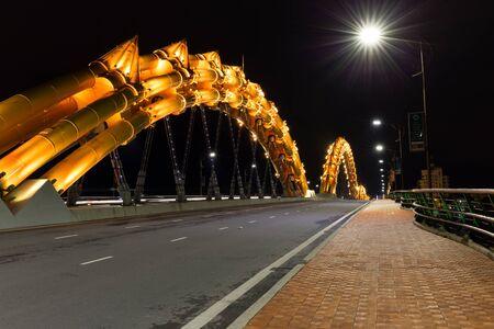 nang: The dragon bridge illuminated in Da nang city