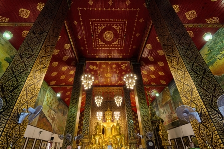 hariphunchai: Inside the Wat Phra That Hariphunchai temple in Lamphun, Thailand