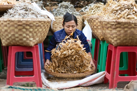 squatting down: MANDALAY,MYANMAR,JANUARY 17, 2015: A seller is sieving the dry fish in the central street market of Zegyo, in Mandalay, Myanmar (Burma).