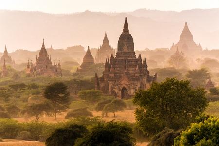 mist: Pagoda landscape in the plain of Bagan, Myanmar (Burma) Stock Photo