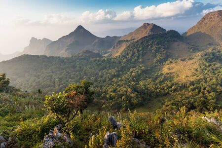 dao: Landscape in the Chiang Dao mountains at dusk, Thailand Stock Photo