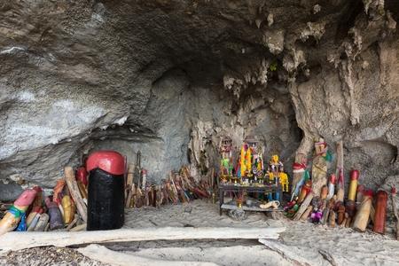 phallus: Religious phallus symbols offerings in the cave of the Princess Pranang, Krabi, Thailand Stock Photo