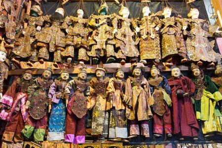 puppets: Rows of traditional Burmese puppets called Yoke thé , Myanmar Stock Photo