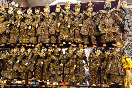 puppetry: Rows of traditional Burmese puppets called Yoke thé , Myanmar Stock Photo