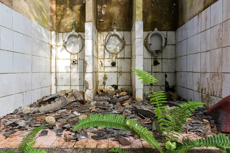 latrine: Ruined and abandoned  tropical toilets