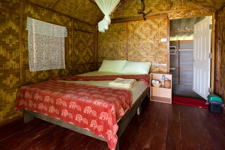 mook: Inside a simple bamboo wooden bungalow in Ko Mook island, Thailand