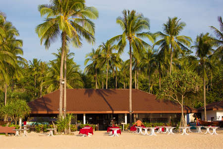 Restaurant facing a tropical beach in Ko Mook island, Thailand