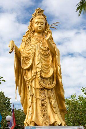 buddha statue: Guanyin chinese goddess statue in the wat Samphran temple near Bangkok, Thailand Stock Photo