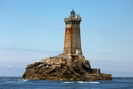 The la Vieille Lighthouse in Brittany open sea at Raz point, France Stock Photo