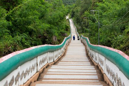 Long stairs of the Wat Phra Bat Phu Pan Kham temple in Thailand