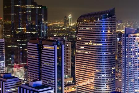 Bangkok modern buildings by night, Thailand