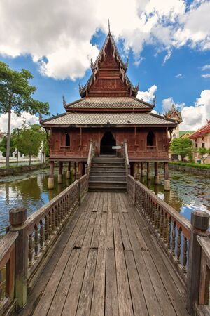 The ancient library of Wat Thung Sri Muang Buddhist temple in Ubon Ratchatani, Thailand