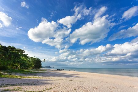 blue cloudy sky: Wild tropical Khanom beach under a blue and cloudy sky, Thailand