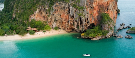aonang: Aerial view of Phra Nang tropical beach in Krabi province, Thailand Stock Photo