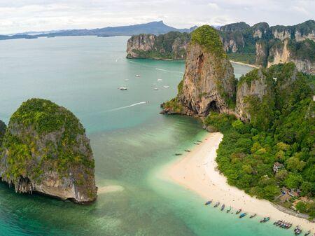 thailand beach: Aerial view of Phra Nang tropical beach in Krabi province, Thailand Stock Photo