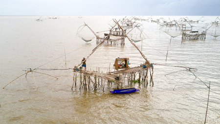 chinese fishing nets: Aerial view of giant Chinese fishing nets at Phatthalung, south Thailand
