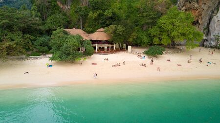 aonang: Aerial view of Railay beach in Krabi province, Thailand Stock Photo