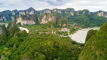 aonang: Aerial view of Railay beach west and east in Krabi province, Thailand