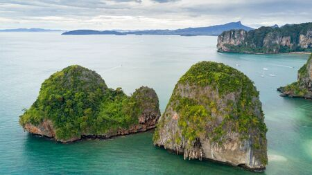 aonang: Aerial view of Ao Nang coastine in Krabi province, Thailand Stock Photo