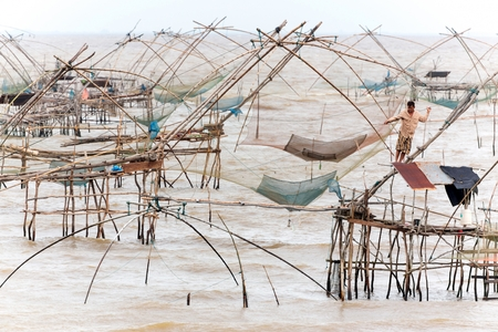 chinese fishing nets: Giant Chinese fishing nets at Phatthalung, south Thailand Stock Photo