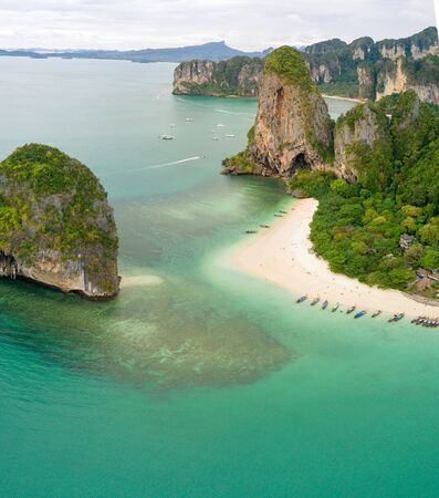 phra nang: Aerial view of Railay beach and coastline in Krabi province, Thailand Stock Photo