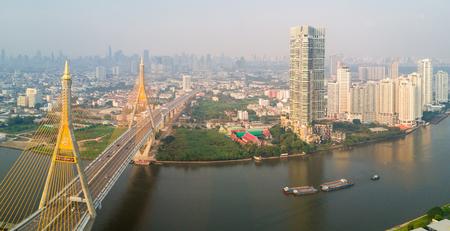 Bhumibol bridge aerial view over the Chao Phraya river in Bangkok, Thailand