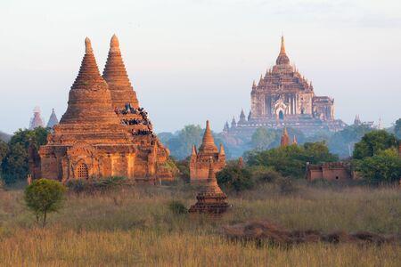 Landscape of pagodas in the Bagan plain, Myanmar