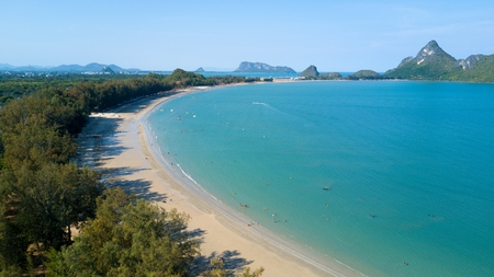 Aerial view of Ao Manao beach bay in the Prachuap Khiri Khan province, Thailand