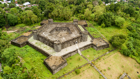Aerial view of a pentagonal fort built by dutch during the spices war in the Banda Neira island, Maluku, Indonesia