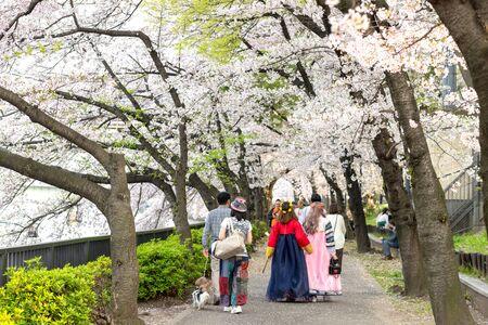 OSAKA, JAPAN : Japanese people wearing colorful clothes are walking along the shore at the Kema Sakuranomiya Park to celebrate new spring .